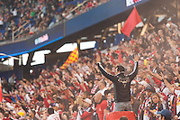 New York Red Bulls fans. The New York Red Bulls defeated the Chicago Fire 5-2 during a Major League Soccer (MLS) match at Red Bull Arena in Harrison, NJ, on October 27, 2013.