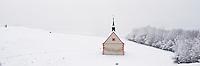 Walberla hill and Walpurgis Chapel in winter, Franconia, Bavaria, Germany