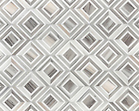 Yildiz, a stone waterjet mosaic  shown in Palisandra veincut and Snow White, is part of the Talya Collection by Sara Baldwin for Marble Systems.