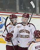 Johnny Gaudreau (BC - 13), Patrick Brown (BC - 23) - The visiting University of Notre Dame Fighting Irish defeated the Boston College Eagles 7-2 on Friday, March 14, 2014, in the first game of their Hockey East quarterfinals matchup at Kelley Rink in Conte Forum in Chestnut Hill, Massachusetts.