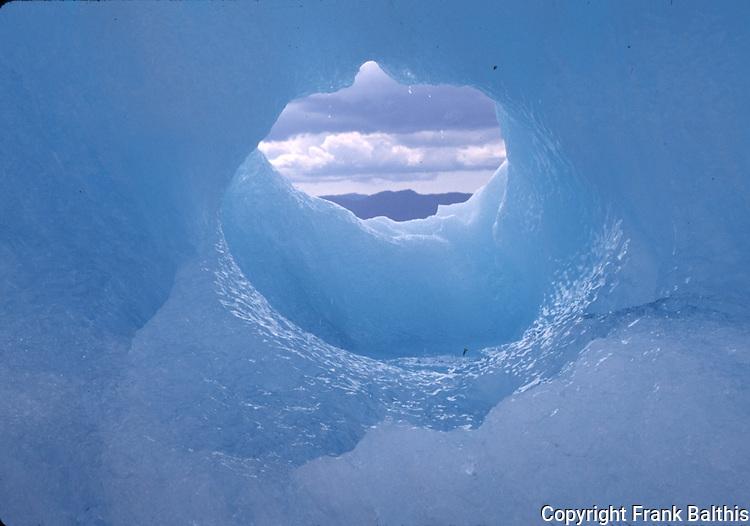 hole in iceberg near Le conte Glacier