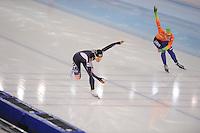 SPEEDSKATING: SOCHI: Adler Arena, 24-03-2013, Essent ISU World Championship Single Distances, Day 4, 500m Ladies, Sang-Hwa Lee (KOR), Thijsje Oenema (NED), © Martin de Jong