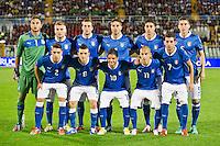 PESCARA (PE) 12/10/2012: QUALIFICAZIONE EUROPEI UNDER 21 ITALIA - SVEZIA. PARTITA VINTA DALL'ITALIA CON UN GOAL DI IMMOBILE. NELLA FOTO LA FORMAZIONE DELL'ITALIA SCHIERATA AD INIZIO PARTITA.  FOTO ADAMO DI LORETO