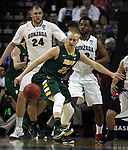 North Dakota State's AJ Jacobson (21) is turned away from the basket by  Gonzaga's Byron Wesley (22) and Przemek Karnowski (24) during the 2015 NCAA Division I Men's Basketball Championship's March 20, 2015 at the Key Arena in Seattle, Washington.   ©2015. Jim Bryant Photo. ALL RIGHTS RESERVED.