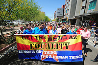 Phoenix, Arizona (March 29, 2014) - Demonstrators take their messages to the streets of Downtown Phoenix. About 400 participated in the march. Photo by Eduardo Barraza © 2014
