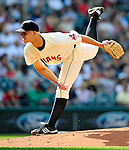 5 September 2009: Cleveland Indians' pitcher Justin Masterson on the mound against the Minnesota Twins at Progressive Field in Cleveland, Ohio. The Indians fell to the Twins 4-1 in the second game of their three-game weekend series. Mandatory Credit: Ed Wolfstein Photo