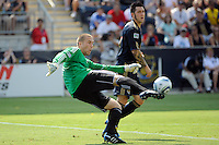 Philadelphia Union goalkeeper Chris Seitz (1). The Philadelphia Union defeated Toronto FC 2-1 on a second half stoppage time goal during a Major League Soccer (MLS) match at PPL Park in Chester, PA, on July 17, 2010.