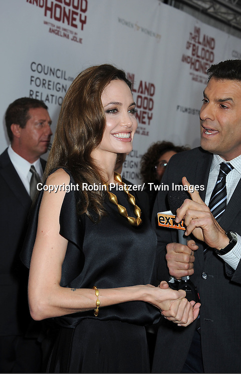 """Angelina Jolie attends The New York Premiere of Angelina Jolie's movie """" In the Land of Blood and Honey"""" on December 5, 2011 at The School of Visual Arts Theatre in New York City."""