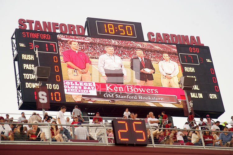STANFORD, CA - AUGUST 28:  The scoreboard during Stanford's 36-28 win over the Oregon State Beavers on August 28, 2008 at Stanford Stadium in Stanford, California.