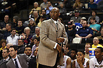 24 February 2016: Wake Forest head coach Danny Manning. The Wake Forest University Demon Deacons hosted the University of Notre Dame Fighting Irish at Lawrence Joel Veterans Memorial Coliseum in Winston-Salem, North Carolina in a 2015-16 NCAA Division I Men's Basketball game. Notre Dame won the game 69-58.