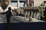 Islamic and democratic opposition groups who mounted a protest in front of Soviet government buildings face a Red Army roadblock. Dushanbe, Tajikistan. February 1990
