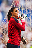 United States (USA) goalkeeper Hope Solo (1). The women's national team of the United States defeated the Korea Republic 5-0 during an international friendly at Red Bull Arena in Harrison, NJ, on June 20, 2013.
