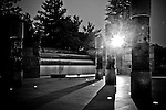 The Franklin Delano Roosevelt (FDR) Memorial in Washington, DC houses four outdoor galleries, or rooms, each one commemorating a different segment of his presidency.  Quiet cascades of water flow throughout the memorial.