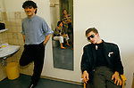 Peter Gill and Mark O'Toole, OF POP GROUP FRANKIE GOES TO HOLLYWOOD IN DRESSING ROOM, MUNICH GERMANY