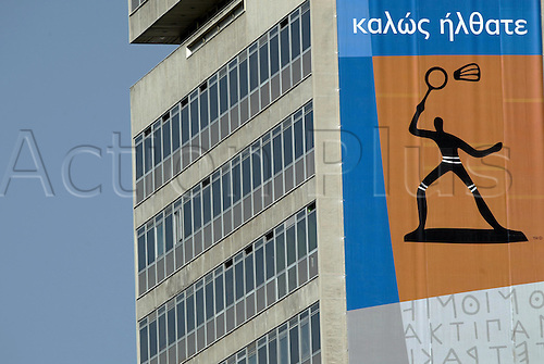 13.08.2004: Athens, Greece.  Olympic Badminton signage on the side of a building near the Goudi Olympic Hall. 2004 Olympic Games, Athens, Greece.
