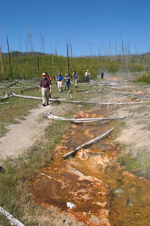 WY: Wyoming; Yellowstone National Park:.Hike in Midway Geyser Basin, thermal features..Photo #: yellow1404.Photo copyright Lee Foster, 510/549-2202, lee@fostertravel.com, www.fostertravel.com..