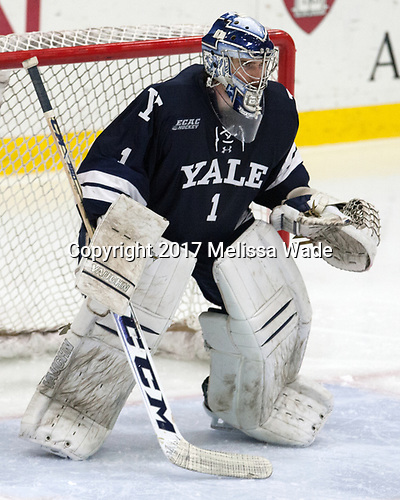 Sam Tucker (Yale - 1) - The Harvard University Crimson defeated the Yale University Bulldogs 6-4 in the opening game of their ECAC quarterfinal series on Friday, March 10, 2017, at Bright-Landry Hockey Center in Boston, Massachusetts.
