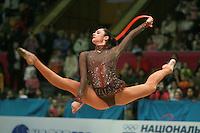 "Anna Bessonova of Ukraine split leaps with rope during senior All-Around at 2007 World Cup Kiev, ""Deriugina Cup"" in Kiev, Ukraine on March 16, 2007. Anna won the seniors All-Around."