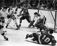 Seals vs Northstars, goalie Carl Wetzel, #3Jean-Guy <br />Talbot, #12 Gary Jarrett,  #10 Ted Hampson. (1967 photo/Ron Riesterer)