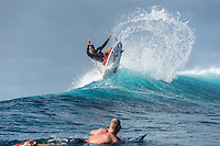 Namotu Island Resort, Nadi, Fiji (Sunday, June 12 2016): Wiggolly Dantas (BRA) with Mick Fanning (AUS) - The Fiji Pro, stop No. 5 of 11 on the 2016 WSL Championship Tour, was called off again today due to the lack of contestable swell at Cloudbreak. The contest is still facing a number of lay days due to the small surf conditions.  There was a slight increase in the swell this morning and the winds had moved back to light Trades. Photo: joliphotos.com