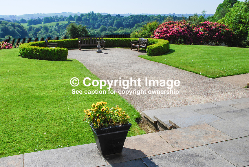 Ornamental garden in front of Malone House, Barnett's Demesne, Malone, Belfast,  N Ireland, UK, parkland, shadows, sunshine, foliage, trees, 200905312537, springtime, early summer, may 2009..Copyright Image from Victor Patterson, 54 Dorchester Park, Belfast, UK, BT9 6RJ..Tel: +44 28 9066 1296.Mob: +44 7802 353836.Voicemail +44 20 8816 7153.Skype: victorpattersonbelfast.Email: victorpatterson@mac.com.Email: victorpatterson@ireland.com (back-up)..IMPORTANT: If you wish to use this image or any other of my images please go to www.victorpatterson.com and click on the Terms & Conditions. Then contact me by email or phone with the reference number(s) of the image(s) concerned.