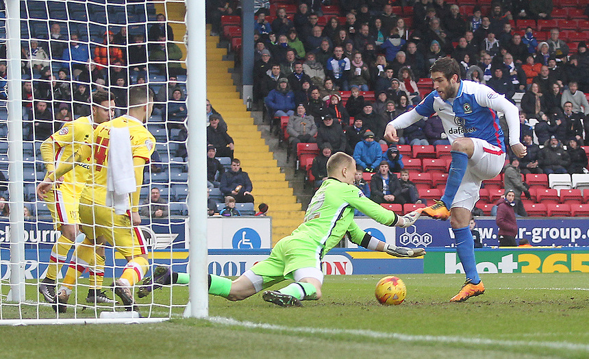 Blackburn Rovers Danny Graham tries to beat Milton Keynes Dons Cody Cropper<br /> <br /> Photographer Mick Walker/CameraSport<br /> <br /> Football - The Football League Sky Bet Championship - Blackburn Rovers v Milton Keynes Dons - Saturday 27th February 2016 - Ewood Park - Blackburn<br /> <br /> &copy; CameraSport - 43 Linden Ave. Countesthorpe. Leicester. England. LE8 5PG - Tel: +44 (0) 116 277 4147 - admin@camerasport.com - www.camerasport.com