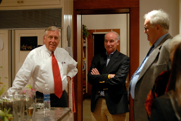 Congressman Steny H. Hoyer, D-MD, the House Democratic Whip talks with candidate Joe Courtney and Peter G. Kelly during a small private fund raiser at the home of Ted and Linda  Rossi in East Hampton Connecticut.