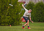 29 May 2015: Montpelier High School plays Vermont Commons School in the second round of the VYUL State Ultimate Disk Championships at Bombardier Park in Milton, Vermont. Mandatory Credit: Ed Wolfstein Photo *** RAW (NEF) Image File Available ***