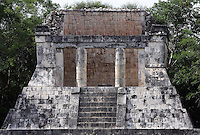 Northern Temple or the Temple of the Bearded Man, Rectangular platform, 8 by 14 meters, Toltec Architecture, Game of Ball, 900-1100 AD, Chichen Itza, Yucatan, Mexico. The scenes sculpted on the columns and on the vaulted ceiling illustrate the whole initiation process. Picture by Manuel Cohen