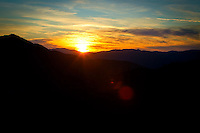 On the way back to Wellington after a weekend of surfing - sunset from on top of the Rimutaka Ranges.