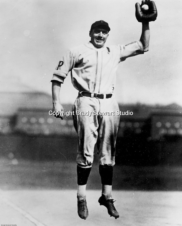 Pittsburgh PA:  View of Pie Traynor posing for a photo at Forbes Field.<br />