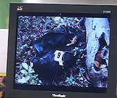 A photo of a duffle bag found near the shooting of Maryland bus driver Conrad Johnson, is shown on a screen during the trial of sniper suspect John Allen Muhammad in courtroom 10 at the Virginia Beach Circuit Court in Virginia Beach, Virginia on November 3, 2003.<br /> Credit: Lawrence Jackson - Pool via CNP