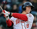Catcher Jordan Weems (18) of the Greenville Drive in a game against the Charleston RiverDogs on Wednesday, April 16, 2014, at Fluor Field at the West End in Greenville, South Carolina. Weems was a 3rd Round pick of the Boston Red Sox in the 2011 First-Year Player Draft. (Tom Priddy/Four Seam Images)