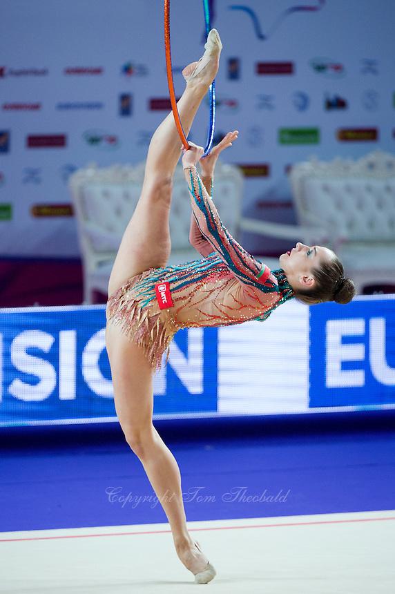 KATSIARYNA HALKINA of Belarus performs with hoop at 2016 European Championships at Holon, Israel on June 18, 2016.