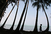 A young island girl walks between coconut palms on the coastline of Puil Island, Carteret Atoll, Papua New Guinea, on Sunday, Dec. 10, 2006.  Rising sea levels have eroded much of the coastlines of the low lying Carteret islands (situated 80km from Bougainville island, in the South Pacific), and waves have crashed over the islands flooding and destroying what little crop gardens the islanders have. Food is in short supply, banana and swamp taro crops are failing due to the salt contamination of the land, and the islanders live on a meagre one meal per day diet of fish and coconut. There is talk by the Autonomous Region of Bougainville government to relocate the Carteret Islanders to Bougainville island, but this plan is stalled due to a lack of finances, resources, land and coordination.