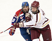Ryan McGrath (UML - 10), Michael Matheson (BC - 5) - The University of Massachusetts Lowell River Hawks defeated the Boston College Eagles 4-2 (EN) on Tuesday, February 26, 2013, at Kelley Rink in Conte Forum in Chestnut Hill, Massachusetts.