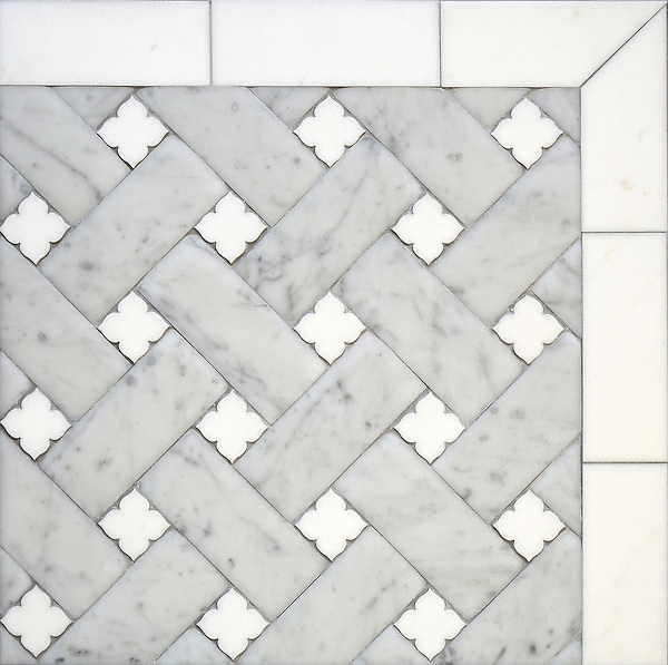 Fraser, a stone waterjet mosaic, shown in Carrara Venetian honed and honed Thassos, is part of the Altimetry Collection for New Ravenna.<br /> <br /> For pricing samples and design help, click here: http://www.newravenna.com/showrooms/