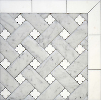Fraser, a stone waterjet mosaic, shown in Carrara Venetian honed and honed Thassos, is part of the Altimetry Collection for New Ravenna.<br />