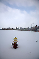Detroit: paesaggio urbano d'inverno. Un idrante in una distesa di neve. All'orizzonte i palazzi della città.