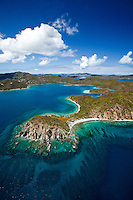 Aerial view of Turner Point with Hurricane Hole to the left and Round Bay to the right.St. John.U.S. Virgin Islands