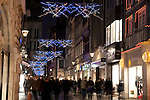 Gros Horloge Street, Illuminated at Night with Christmas Decorations in Rouen, Normandy, France