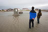 High tide and storm surge flood park monument at Herschel Island Territorial Park, Herschel Island, Yukon