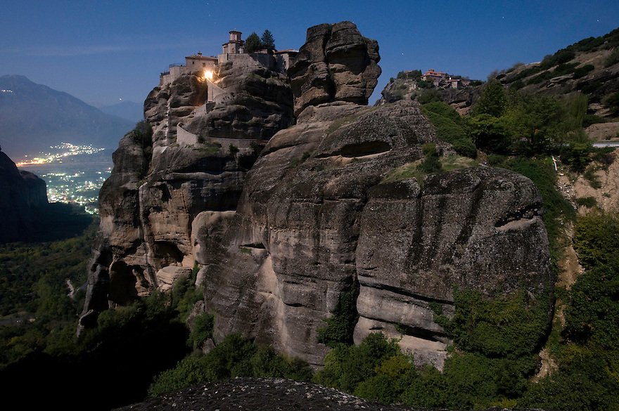 Greece, Meteora, Varlaam Monastery in Moonlight