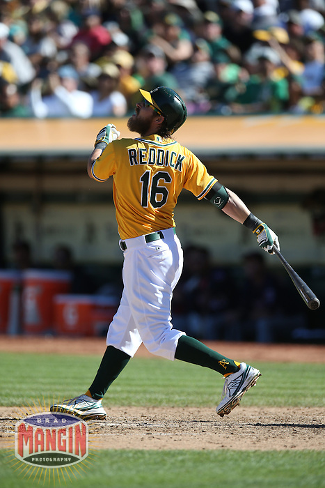 OAKLAND, CA - SEPTEMBER 22:  Josh Reddick #16 of the Oakland Athletics bats against the Minnesota Twins during the game at O.co Coliseum on Sunday, September 22, 2013 in Oakland, California. Photo by Brad Mangin