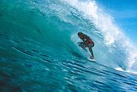 Maurice Cole) surfing Bird Rock, Torquay, Victoria, Australia. during the 1980's. Circa 1981: Photo: Joliphotos.com