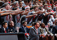 Ohio State students get into the game in the second half of the college basketball game between the Ohio State Buckeyes and the Maryland Terrapins at the Jerome Schottenstein Center in Columbus, Wednesday evening, December 4, 2013. The Ohio State Buckeyes defeated the Maryland Terrapins 76 - 60. (The Columbus Dispatch / Eamon Queeney)