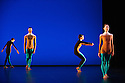 """London, UK. 20.11.2013. Michael Clark Company in a piece set to """"Albatross"""" by Public Image Limited, at the Barbican. Dancers are: Harry Alexander, Julie Cunningham, Melissa Hetherington, Oxana Panchenko, Daniel Squire and Benjamin Warbis.  Picture shows: Julie Cunningham, Harry Alexander, Oxana Panchenko and Melissa Hetherington. Photograph © Jane Hobson."""