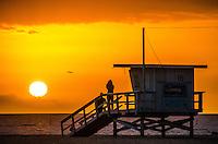 Santa Monica Beach amid the sunset on Saturday, November 16, 2013.
