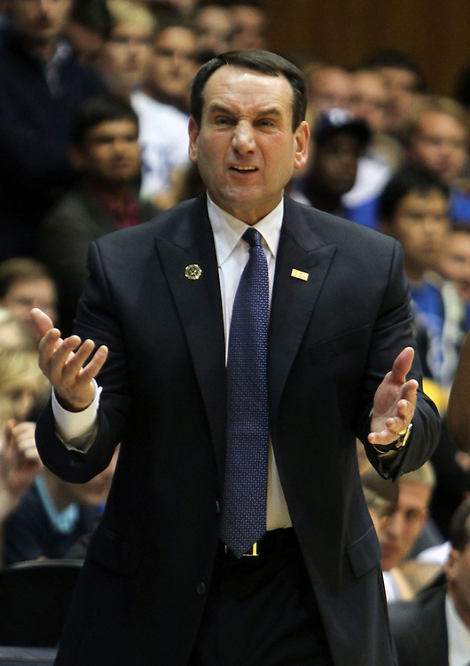 Duke head coach Mike Krzyzewski argues a call. Duke beat Belmont 77-76 on Friday, November 11, 2011 at Cameron Indoor Stadium in Durham, NC. It was win number 901 for Duke head coach Mike Krzyzewski, making him only two wins away from the NCAA DivisionI all-time win record. Photo by Al Drago.