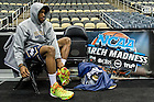 Mar. 20, 2015; Demetrius Jackson puts on his shoes before practice at the Consol Energy Center in Pittsburgh. (Photo by Matt Cashore/University of Notre Dame)
